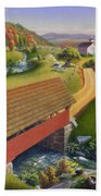Folk Art Covered Bridge Appalachian Country Farm Summer Landscape - Appalachia - Rural Americana Bath Towel