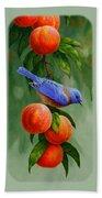 Bird Painting - Bluebirds And Peaches Bath Towel