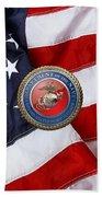 U. S. Marine Corps - U S M C Seal Over American Flag. Bath Towel