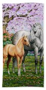 Spring's Gift - Mare And Foal Hand Towel by Crista Forest