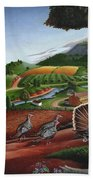 Wild Turkeys In The Hills Country Landscape - Square Format Bath Towel