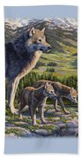 Wolf Painting - Passing It On Bath Sheet by Crista Forest