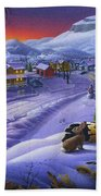 Winter Mountain Landscape - Cardinals On Holly Bush - Small Town - Sleigh Ride - Square Format Bath Towel