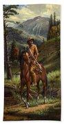 Jim Bridger - Mountain Man - Frontiersman - Trapper - Wyoming Landscape Bath Towel