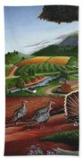 Wild Turkeys Appalachian Thanksgiving Landscape - Childhood Memories - Country Life - Americana Bath Towel