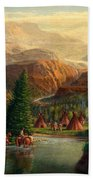 Indian Village Trapper Western Mountain Landscape Oil Painting - Native Americans Americana Stream Bath Towel