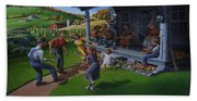 Porch Music And Flatfoot Dancing - Mountain Music - Farm Folk Art Landscape - Square Format Bath Towel