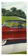 1953 Nash Rambler Car Americana Rustic Rural Country Auto Antique Painting Red Golf Bath Towel