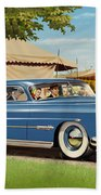 1951 Hudson Hornet Fair Americana Antique Car Auto Nostalgic Rural Country Scene Landscape Painting Bath Towel