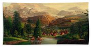 Indian Village Trapper Western Mountain Landscape Oil Painting - Native Americans -square Format Bath Towel