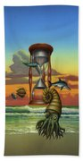Prehistoric Animals - Beginning Of Time Beach Sunrise - Hourglass - Sea Creatures Square Format Bath Towel