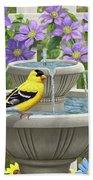 Fountain Festivities - Birds And Birdbath Painting Bath Towel