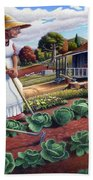 Family Vegetable Garden Farm Landscape - Gardening - Childhood Memories - Flashback - Homestead Bath Towel