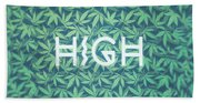 High Typo  Cannabis   Hemp  420  Marijuana   Pattern Bath Towel