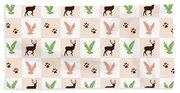 Rustic Wildlife Pattern Hand Towel