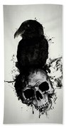 Raven And Skull Bath Towel