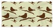 Brown Bird Silhouette Modern Bird Art Hand Towel