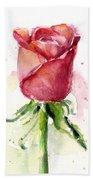 Rose Watercolor Bath Towel by Olga Shvartsur
