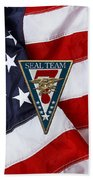 U. S. Navy S E A Ls - S E A L Team Seven  -  S T 7  Patch Over U. S. Flag Bath Towel