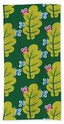 Cute Bugs Eat Green Leaf Bath Towel