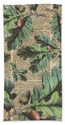 Oak Tree Leaves And Acorns, Autumn Dictionary Art Bath Towel