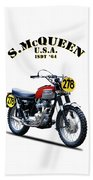 The Steve Mcqueen Isdt Motorcycle 1964 Hand Towel