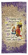 Alice With The Duchess Vintage Dictionary Art Bath Towel