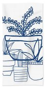 Indigo Potted Succulents- Art By Linda Woods Hand Towel by Linda Woods