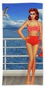 Beauty From The 50s In Bikini  Bath Towel
