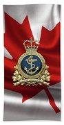 Royal Canadian Navy  -  R C N  Badge Over Canadian Flag Hand Towel