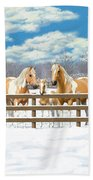 Palomino Paint Horses In Snow Bath Towel by Crista Forest
