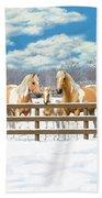 Palomino Paint Horses In Snow Bath Towel