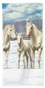 White Horses In Winter Pasture Bath Sheet