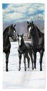 Black Horses In Winter Pasture Bath Towel