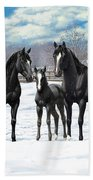 Black Horses In Winter Pasture Bath Sheet