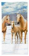 Palomino Horses In Winter Pasture Bath Towel