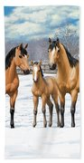 Buckskin Horses In Winter Pasture Bath Towel