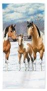 Buckskin Paint Horses In Winter Pasture Bath Sheet by Crista Forest