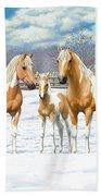 Palomino Paint Horses In Winter Pasture Bath Sheet