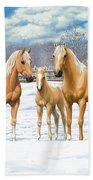 Palomino Appaloosa Horses In Winter Bath Towel