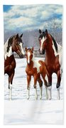 Bay Paint Horses In Winter Bath Towel