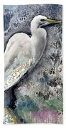 Silver Lake Snowy Egret Bath Towel
