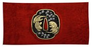Japanese Katana Tsuba - Twin Gold Fish On Black Steel Over Red Velvet Bath Towel