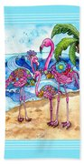 The Flamingo Family's Day At The Beach Bath Towel
