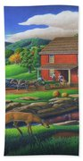 Old Red Appalachian Grist Mill Rural Landscape - Square Format  Bath Towel