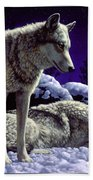 Wolf Painting - Night Watch Bath Towel by Crista Forest