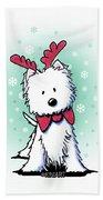 Kiniart Westie Reindeer Hand Towel