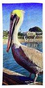 Soak Up The Sun Quote, Cute California Beach Pier Pelican Bath Towel