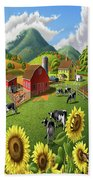 Sunflowers Cows Appalachian Farm Landscape - Rural Americana - Farm Animals - 1950 Farm Life - Barn Bath Towel