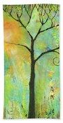 Hello Sunshine Tree Birds Sun Art Print Bath Towel